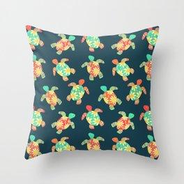 Cute Flower Child Hippy Turtles Throw Pillow