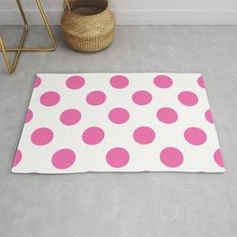 Geometric Candy Dot Circles - Strawberry Pink on White Rug