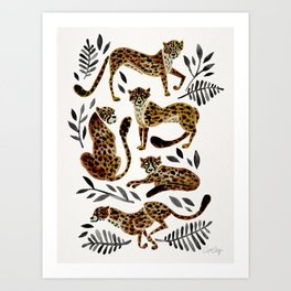 Cheetah Collection – Mocha & Black Palette Art Print