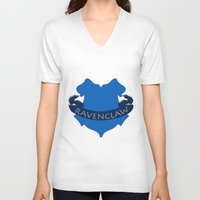 ravenclaw V-neck T-shirts featuring Ravenclaw by konchoo