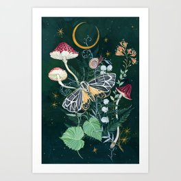 Mushroom night moth Art Print
