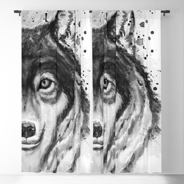 Half-Faced Wolf Close-up Blackout Curtain