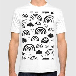 Black and white rainbow clouds T-shirt