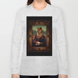 Doge Mona Lisa Fine Art Shibe Meme Painting Long Sleeve T-shirt