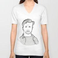 kerouac V-neck T-shirts featuring Jack Kerouac wearing his words by daniel davidson