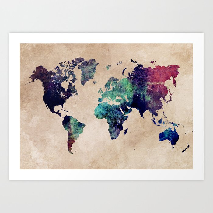 Cold world map map worldmap art print by jbjart society6 cold world map map worldmap art print gumiabroncs Image collections