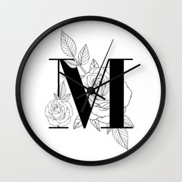 Monogram Letter M with Rose Line Art Wall Clock
