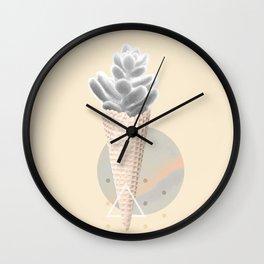 Succulent  ice cream cone Wall Clock
