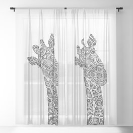 Giraffe in Monochrome Sheer Curtain