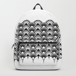 black and white art deco inspired fan pattern Backpack