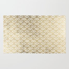 Elegant chic faux gold white japanese wave scallop pattern Rug