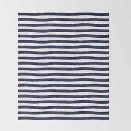 Navy Blue and White Horizontal Stripes Throw Blanket