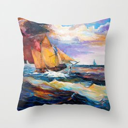 Fishing boats in the sea at sunset Throw Pillow