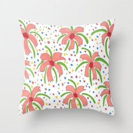 Tropical Fiesta Flowers Throw Pillow