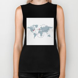 Long Distance World Map - UK to New York Biker Tank