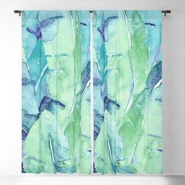 Banana Tree Leaves | Tropical  BLUE Watercolor Blackout Curtain