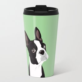Boston Terrier Portrait - Green Travel Mug