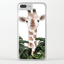 Giraffe above the trees Clear iPhone Case