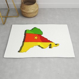Cameroon Map with Cameroonian Flag Rug