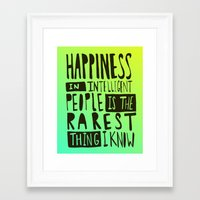hemingway Framed Art Prints featuring Hemingway: Happiness by Leah Flores