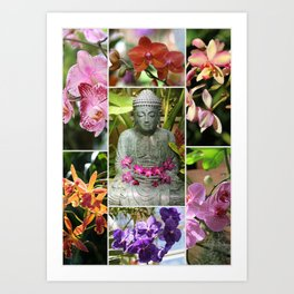 Buddha with Orchids Collage Art Print