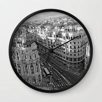 madrid Wall Clocks featuring Madrid by Cristina Serrano