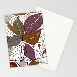 Active Wear Abstract Leaves Pattern Stationery Cards