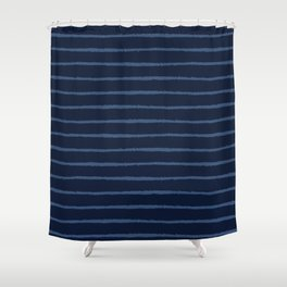 Hand Drawn Stripes Pattern Indigo Blue Grunge Shower Curtain