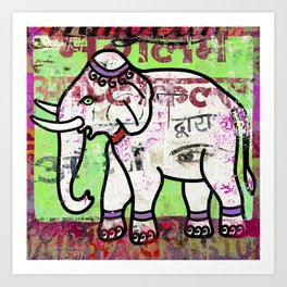 Indian elephant, green and pink exotic animal Art Print