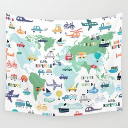 Travel The World Trains Planes Cars Trucks Map Wall Tapestry