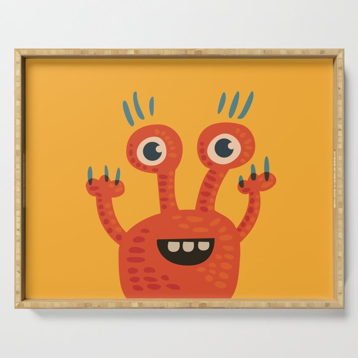 Funny Orange Monster Is Happy Serving Tray