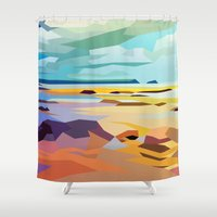 rocky Shower Curtains featuring Rocky Beach by Liam Brazier