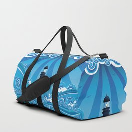 Blue stylized sea with big waves and lighthouse Duffle Bag