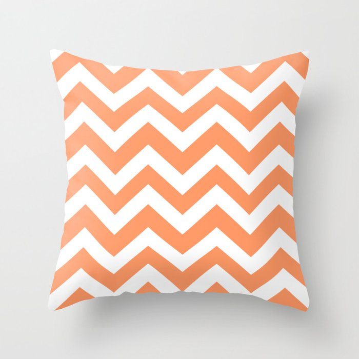 Atomic Tangerine Pink Color Zigzag Chevron Pattern Throw Pillow By Makeitcolorful Society6