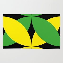 Green Yellow four-leaf clover in a strong deep dark black sky. They are hugging.They love each other Rug