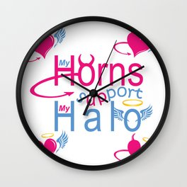 """My Horns Support My Halo"" Wall Clock"