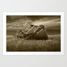 Abandoned and Forlorn The Jamie G. Ship Wreck lies on Prince Edward Island in Sepia Art Print