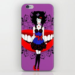 Uptight Alice playing Queen of hearts iPhone Skin
