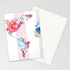 Floral World - Pink Stripe Stationery Cards