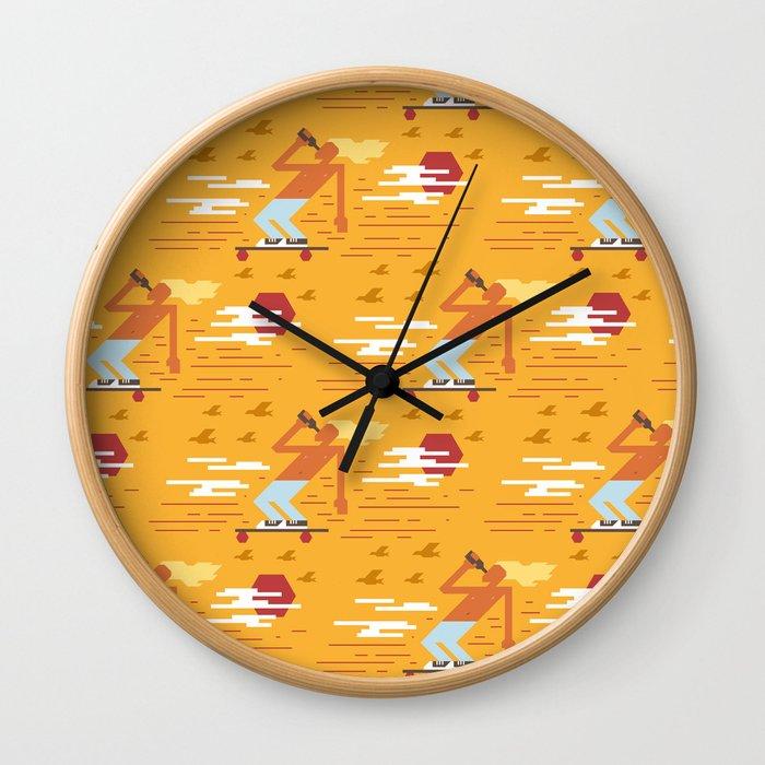 Skateboarders Holiday Pattern Wall Clock