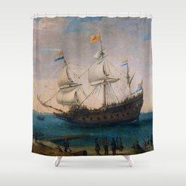 """Hendrick Cornelis Vroom """"Het uitzeilen van een aantal Oost-Indiëvaarders"""" Shower Curtain"""
