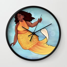 Gold fish mermaid Wall Clock