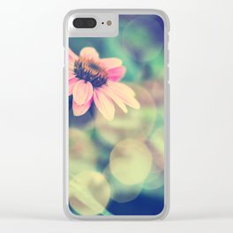 Romance. Golden dust pink daisy with bokeh. Clear iPhone Case