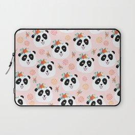 Panda bear with flowers seamless pattern Laptop Sleeve