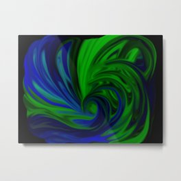 Blue and Green Wave Metal Print