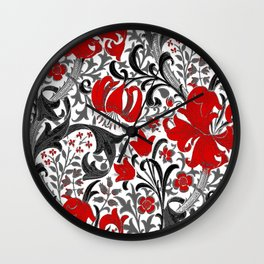 William Morris Iris and Lily, Black, White and Red Wall Clock
