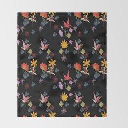 Dark Floral Garden Throw Blanket