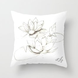 Water Lilies Sketch Throw Pillow
