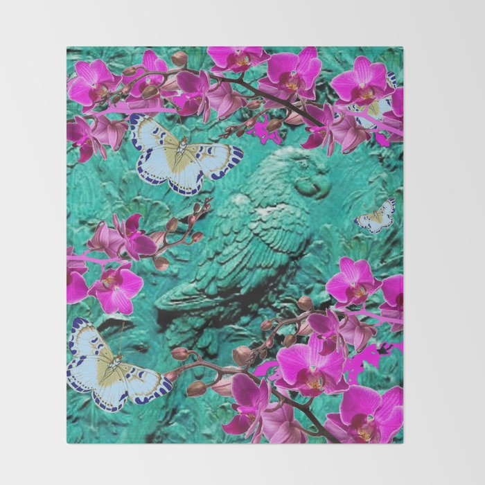 purple orchids butterflies turquoise tropical macaw parrot throw