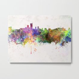 Leeds skyline in watercolor background Metal Print